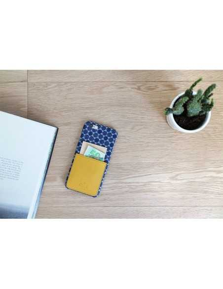 Etui iPhone 6 kieszonka Stuff skóra z bawełną musztardowe
