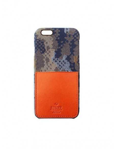 Etui iPhone 6 kieszonka Stuff skóra z bawełną pomarańczowe