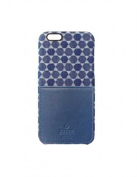 Etui iPhone 6 kieszonka Stuff skóra z bawełną niebieskie